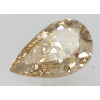 Cert 1.02 カラット イエローブラウン VVS1 ペアシェイプ強化天然ダイヤモンド 8.3x5.35mm