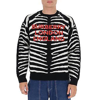 Burberry 8029410a1189 Men's Wit/zwarte wollen trui