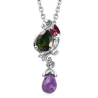 Drop Sterling Silver Chain Hangketting Amethyst Diopside, Blue Sapphire TJC