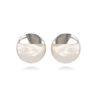 ADEN 925 Sterling Silver White mother-of-pearl Round Shape Earrings (id 4397)