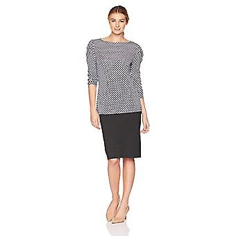 Brand - Lark & Ro Women's Ruched Sleeve Top, Chain Geo, X-Large
