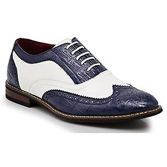 Men's Dress Oxfords Shoes Italy Modern Designer Wingtip Captoe 2 Tone Lace Up...