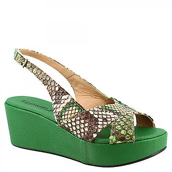 Leonardo Shoes Women's handmade slingback wedges sandals in green calf and python leather