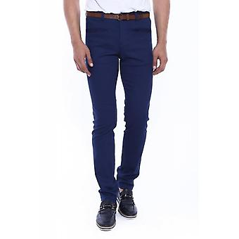 Self patterned navy blue cotton trousers