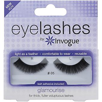 Invogue Glamourise False Synthetic Eyelashes - #5 - Reusable and Easy to Apply