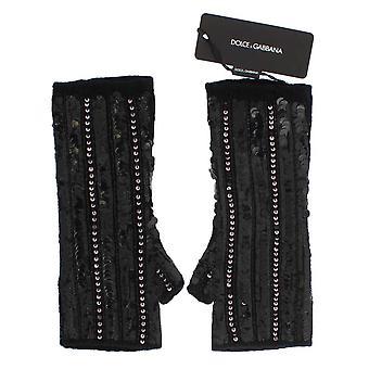 Dolce & Gabbana schwarz gestrickte Cashmere Pailletten Handschuhe LB66-3