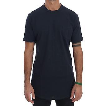 Sininen puuvilla crewneck T-paita TSH1323-4