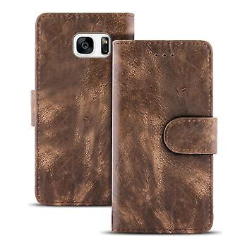 Vintage Sleeves with Card Compartment for Samsung Galaxy S7 Magnetic Buckle Artificial Leather Stylish Brown