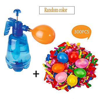 300pcs Ballons With Random Colors - 3 In 1 Spray Bottle, Hand Pump And Water