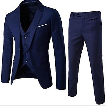 Men's 3 Pieces Suits Slim Fit Suit One Button Blazer Business Pants Suits Set