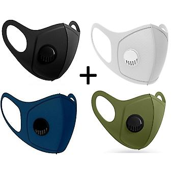 4x Face Mouth Mask with breathing valve, Black,Grey,Olive Green,Dark Blue