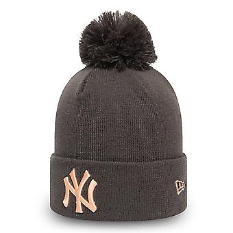 New Era Damen Wintermütze Bommel Beanie - NY Yankees charcoa