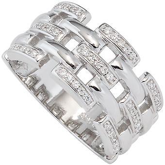 Damen Ring breit 925 Sterling Silber rhodiniert mit Zirkonia Silberring  Größe:64