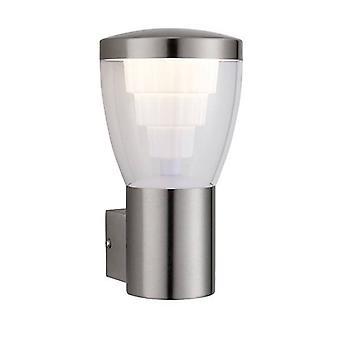 Saxby Carraway - LED intégré 1 Lumière extérieure Lumière murale brossée acier inoxydable, IP44 clair