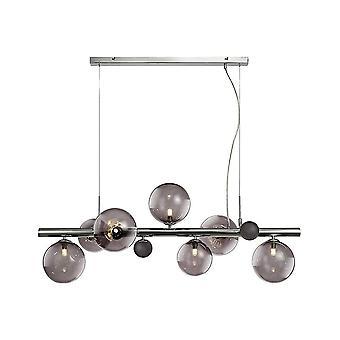 Luminosa Lighting - Takanheng, 7 x G9, polert krom, røkt glass