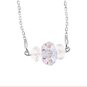 Ah! Jewellery Sterling Silver Clear and AB Crystals From Swarovski Triple Briolette Necklace, Stamped 925