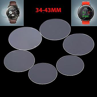 2pack Diameter 34-43mm Universal Round Tempered Glass-protective Film Screen-protector Cover For Armani/casio/xiaomi Smart Watch