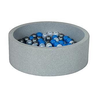 Ball pit 90 cm with 200 balls mother of pearl, blue & silver