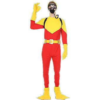 Orion kostuums mens Scuba Diver Big Daddy film Steve Red Yellow fancy dress