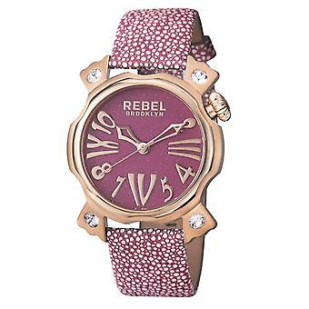 Rebel Women-apos;s RB104-8081 Coney Island Rose-Gold IP Violet Leather Montre-bracelet
