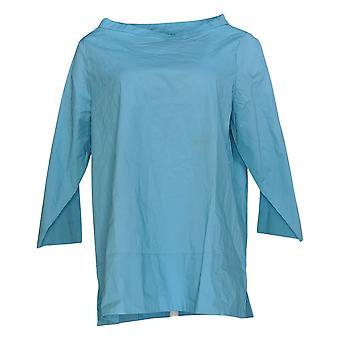 Martha Stewart Mujeres's Top Stretch Poplin Embnel Neck Blusa Azul A353799