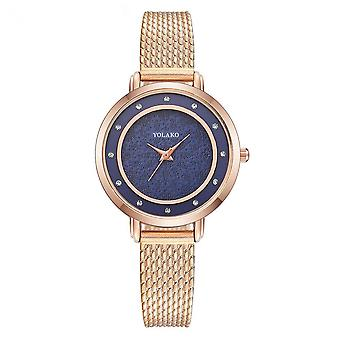 Fashion Gold Plastic Strap Simple Number Dial Ladies Dress Quartz Watch
