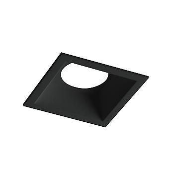 Fan Europe Ayris - Firkantet innfelt aluminium downlight, lampeholder inkludert, svart, GU10