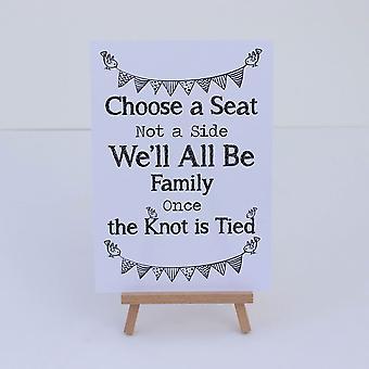 Chevalet et cérémonie de mariage d'église blanche «Choisissez un siège» signe