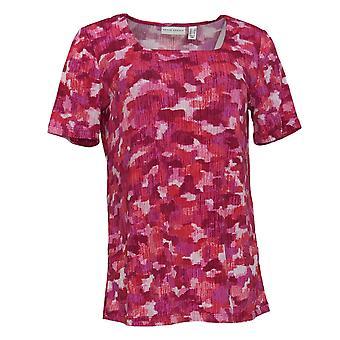 Susan Graver Women's Top Knit Short Sleeve Geometric Print Pink A379117