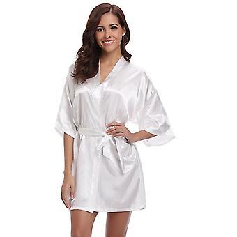 الحرير الجديد كيمونو روب الحمام المرأة الحرير وصيفة الشرف الجلباب مثير البحرية الأزرق الجلباب