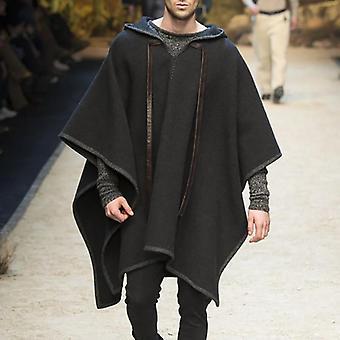 Miehet Verhota takit Hupullinen Cape Streetwear Poncho V Kaula Löysä Takki