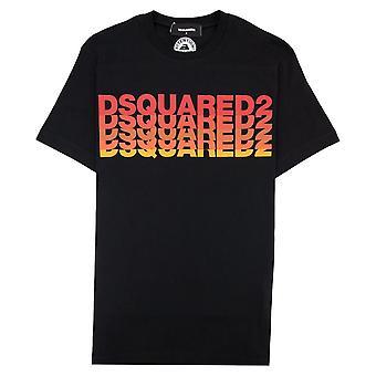 Dsquared2 Multi Logo Grafisk T-skjorte Svart