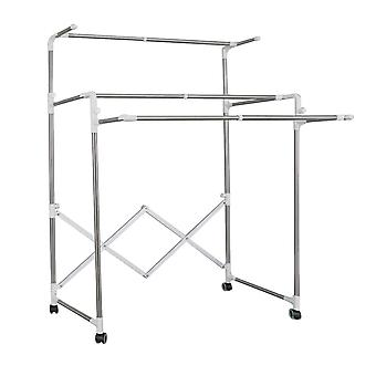 Hyfive extendable garment rail rack collapsible clothing clothes rail dryer double rail - folds for easy storage