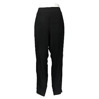 LOGO By Lori Goldstein Women's Pants Terry W/ Tuxedo Stripe Black A368797