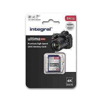 Integral 64gb sd card 4k video premium high speed sd memory card up to 100mb/s v30 uhs-i u3 c10 64 g