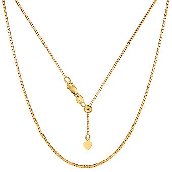 """14k Yellow Gold Adjustable Box Chain Necklace, 1.15mm, 22"""""""