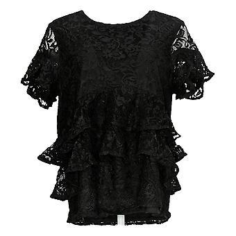 Du Jour Women's Top Tiered Knit Lace Back Keyhole Détail Noir A342175