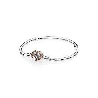 Pandora 586292CZ Rose Pave Heart Clip Moments Silver Bracelet 17 cm