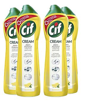 4 Pack Of Cif 100% Natural Cleaning Particles Lemon Creams, 500ml