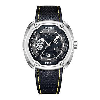 YAZOLE 462 463 Świecący wyświetlacz Kalendarz Klasyczny skórzany pasek Męski zegarek kwarcowy