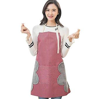 Apron Waterproof Oil-proof Kitchen Waist Apron With Side Hand Towel