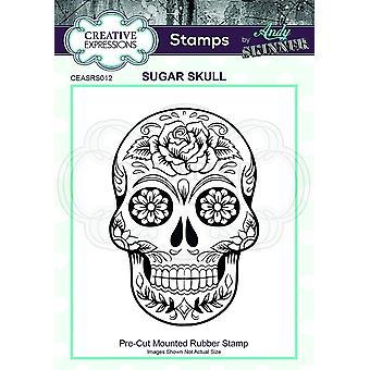 Expressões Criativas Andy Skinner Sugar Skull 2.4 em x 1.8 em Selo de Borracha