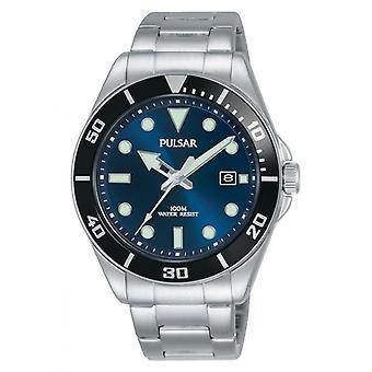 Pulsar Uhr PG8289X1 - SPORT Dateur Silber Stahl Armband Holz Silber Stahl Herren Silber