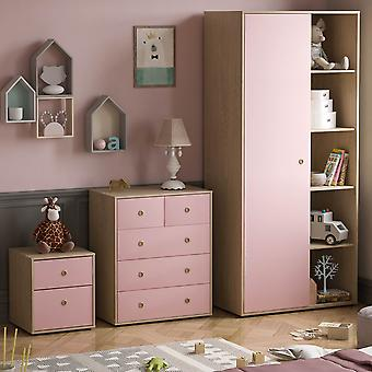Neptune 3 Piece Bedroom Furniture Set, Bedside Table, Chest of Drawers, Wardrobe Two-tone, Pink & Oak