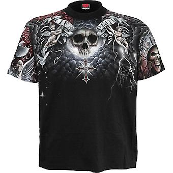 Life And Death Cross Allover T-Shirt Black