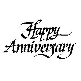 Happy Anniversary Wood Mounted Stamp