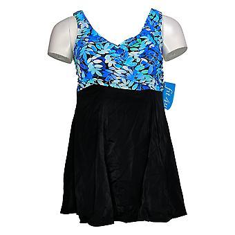 Fit 4 U Swimsuit Printed Wrap Swim Dress Black A376261