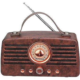 HanFei TR607 Vintage Radio Retro Bluetooth Lautsprecher, Tragbares FM Radio mit 1500mAh Akku, Doppel