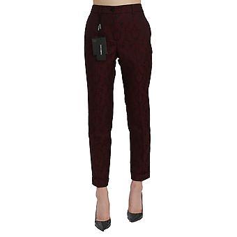Dolce & Gabbana Maroon Jacquard Høj talje tilspidsede bukser - PAN71069