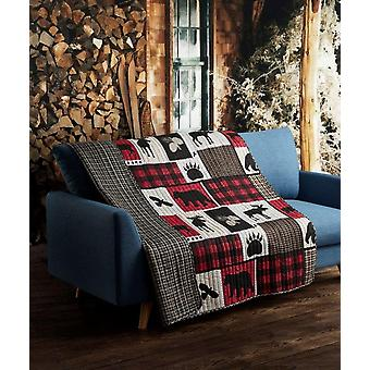 Spura Home Pictorial Lodge Life Primitive Transitional Quilted Throw